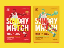 Basketball Match Flyer or Poster Template by caffeinesoup