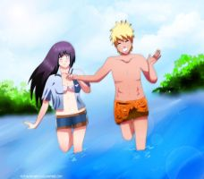Commision:Summer time NaruHina by lazycreator