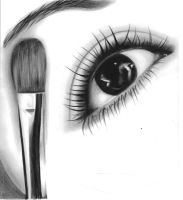 drawing of myself applying make up by amie-cotter