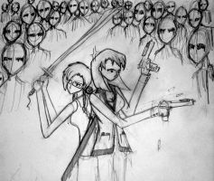 karrie and I fighting zombies. by Thenextera