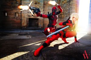 Bang! Bang! Bang! - Deadpool and Lady Deadpool by AndyWana