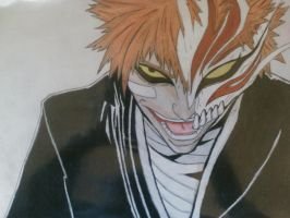 Ichigo Kurasaki with half of hollow mask by EymBee