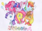 Mane 6 - Traditional Art by Emypony