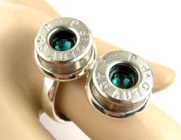 45 Remington ring - Emerald Swarovski Bullet Ring by IndustrialSwank