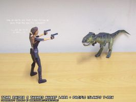 papercraft Tomb Raider Lara Croft vs T-Rex by ninjatoespapercraft
