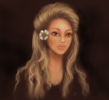 Golden Hair Style White Flower by thepurpleorchid1