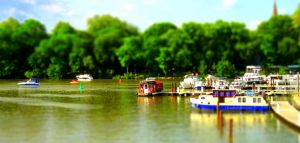 The Orange Houseboat --- Tiltshift Effect by Cloudwhisperer67