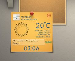 Memo Style Clock Weather for xwidget by jimking