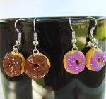Polymer Clay Donut Earrings by SolarCrush