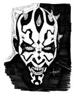 Darth Maul (black and white) by StevenWilcox