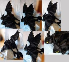 Two Night Fury plushies (different size) by Rens-twin