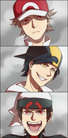 Male protagonists's battle faces by Ginkirii