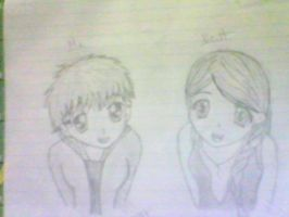 Drawing of my friend and I... by Myazoma