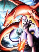 MEW TWO Y CHARIZARD by Josher-Jonan