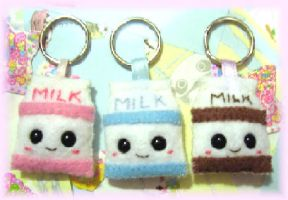 felt milk faces keychains by kneazlegurl125