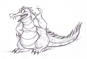 Grumpy crocodile by Ribbedebie