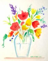 watercolor flowers by aurangelica