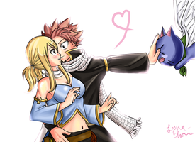 NaLu... and Happy :D by Lyne-Chan