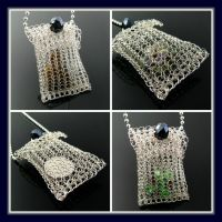 Wire knit pouch with crystal button by CatsWire