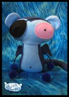 Blue monkey with eyepatch by plushrooms