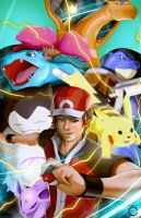 Pokemon Trainer Red and Team by ccayco