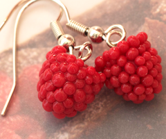 Raspberry Earrings by DeliciousTrickery