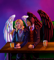 Commish: Lucifer and Gabriel by Guttergoo