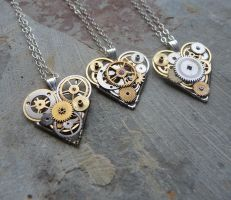 Gear Heart Pendants by AMechanicalMind