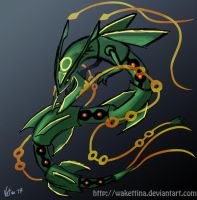 Mega Rayquaza (sketch) by Wakettina