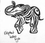Tattoo Elephant by Bubblefox
