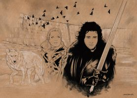 Jon Snow and Ygritte / Game of Thrones by jasonbaroody