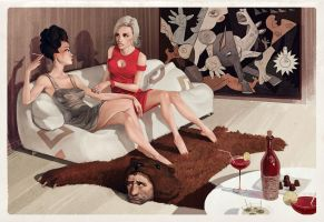 Talking over a bear by Waldemar-Kazak