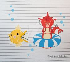 Shiny Magikarp/Gyarados Stickers and Magnets by pixelboundstudios