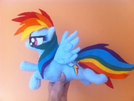 One of my older fleece plushies rainbow dash by Epicrainbowcrafts