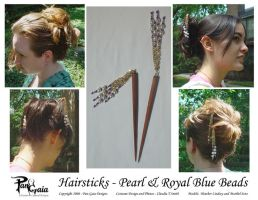 Pearl and Blue Hairsticks by HasturCTS