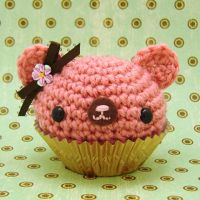 Pink Chocolate cupcake bear by amigurumikingdom