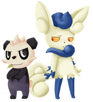 Pancham Y Meowstick by spyke-sk