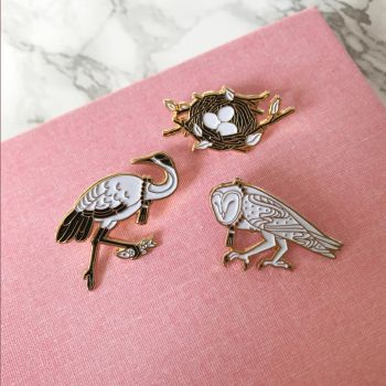Owl Nest and Crane Pins by Lumichi