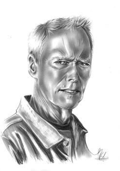 Black and White Portrait ( Clint Eastwood ) by VladWilliam
