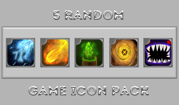[free] 5 Random Game Icons Pack by MAND4Drawings