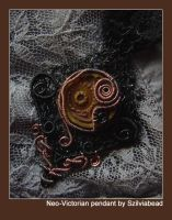 Neo-victorian pendant on lace by bodaszilvia