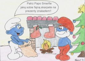 Smurfs and Xmas by Saari