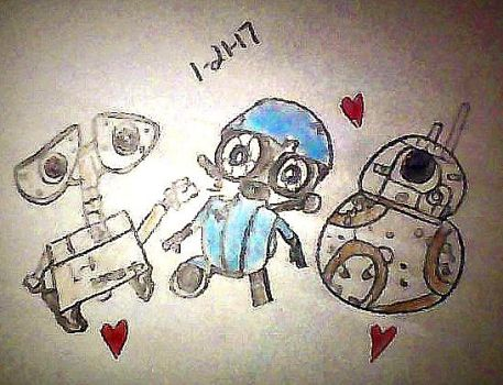 Wall E, Sqweeks, and BB8 by Super-Flamin-Angel