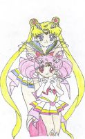 Sailor Moon and Mini Moon by ShiyaHawk