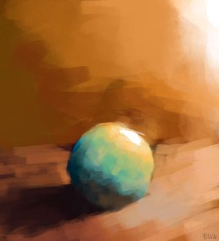 Color Study #6 - Blue Ball vs Orange Light by ollieestuff
