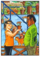 Meesh And Me On The Patio by Hognatius