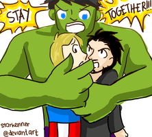 Hulk/Steve/Tony - WILL YOU GUYS STOP THAT?! by starkenner