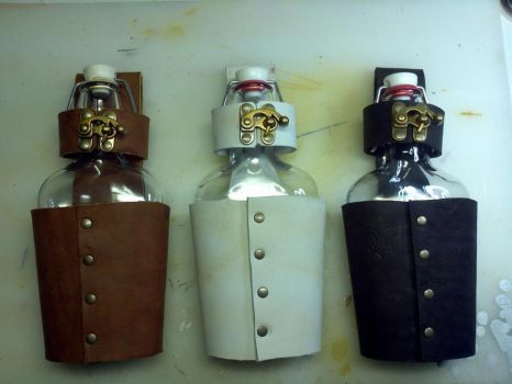 Leather Flask Holster - In Production by CaelynTek