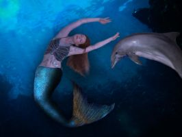 the Mermaid and Her Sea Pal by 3punkins