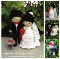 Amigurumi Wedding Couple with Shih Tzu Dog by AChiBuu